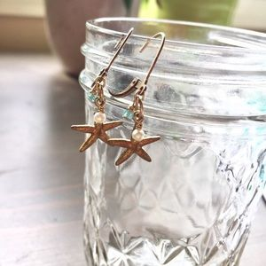 Jewelry - Starfish Charm Gemstone Pearl Brass Earrings